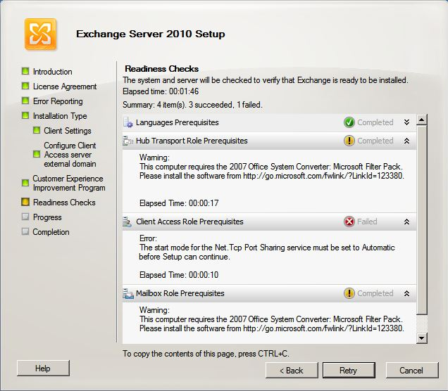 Instalando o exchange server 2010 no windows server 2008 - Office filter pack for exchange 2010 ...
